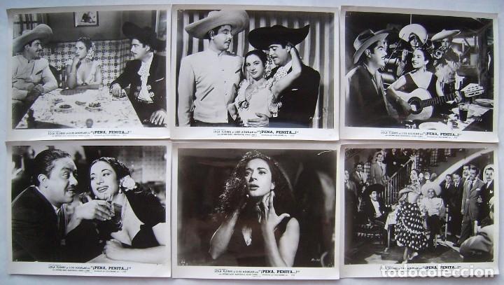 PENA, PENITA, PENA, CON LOLA FLORES. 6 FOTOS FOTOCROMOS ORIGINALES, 20,5 X 25,5 CMS.. (Cine - Fotos, Fotocromos y Postales de Películas)