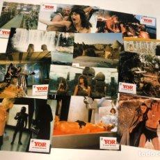 Cine: YOR, EL CAZADOR DEL FUTURO (1983). LOTE DE 12 FOTOCROMOS (SET COMPLETO). EN PERFECTO ESTADO. Lote 175334524