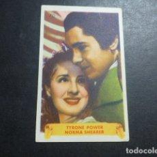 Cine: TYRONE POWER Y NORMA SHEARER ACTORES DE CINE ARTISTAS CROMO AÑOS 40-50. Lote 175679658