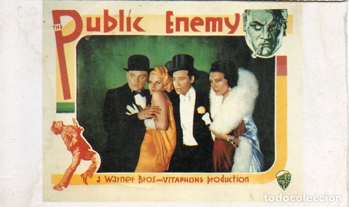 JAMES CAGNEY JEAN HARLOW POSTCARD PUBLIC ENEMY A WARNET BROS VITAPHONE PRODUCTION (Cine - Fotos y Postales de Actores y Actrices)