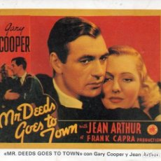 Cine: GARY COOPER JEAN ARTHUR POSTCARD MR. DEEDS GOES TO TOWN FRANK CAPRA PRODUCTION . Lote 176033298