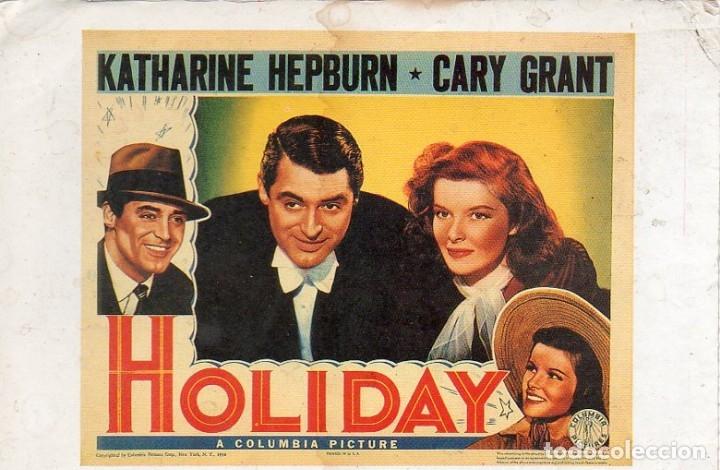 POSTCARD HOLIDAY KATHARINE HEPBURN CARY GRANT A COLUMBIA PICTURE (Cine - Fotos y Postales de Actores y Actrices)