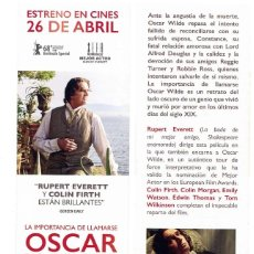 Cinema: LA IMPORTANCIA DE LLAMARSE OSCAR WILDE. MARCAPÁGINAS.. Lote 176137834