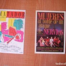 Cine: POSTALES DE LAS PELICULAS MUJERES ... Y MATADOR DE PEDRO ALMODÓVAR, BUEN ESTADO. Lote 176473822