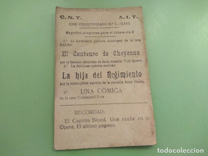 Cine: Tarjeta autentica La Hija del Regimiento de Cinnamond Film año 1934. Gavá Cine Colectivizado CNT - Foto 2 - 176579182