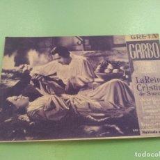 Cine: TARJETA ANTIGUA Y AUTENTICA LA REINA CRISTINA DE SUECIA DE GRETA GARBO 1935 METRO GOLDWYN MAYER. Lote 176580782