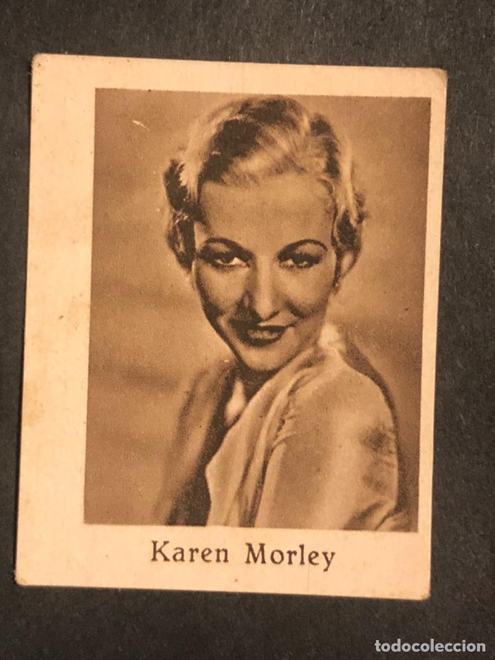 CROMO 4,5 X 3,5 CM ARTISTAS DE CINE KAREN MORLEY (Cine - Fotos y Postales de Actores y Actrices)
