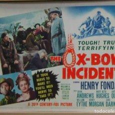 Cine: ZF33D THE OX-BOW INCIDENT HENRY FONDA DANA ANDREWS FOTOCROMO LOBBY TITLE CARD ORIGINAL AMERICANO. Lote 178670032