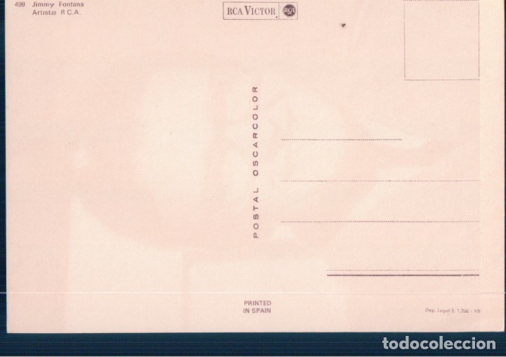 Cine: postal del famoso cantante jimmy fontana - artista de r.c.a. - de oscarcolor nº 499 - Foto 2 - 179070623