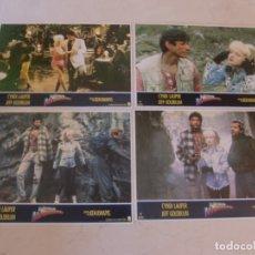 Cine: EL MISTERIO DE LA PIRAMIDE DE ORO / CINDY LAUPER / JUEGO 4 FOTOCROMOS ORIGINALES ESTRENO. Lote 180039007