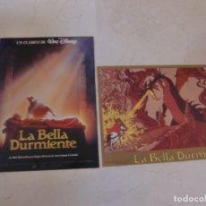 Cine: LA BELLA DURMIENTE / WALT DISNEY / JUEGO 2 FOTOCROMOS ORIGINALES REESTRENO. Lote 180040026