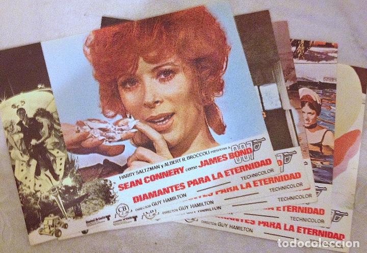 5 LOBBY CARDS DE DIAMANTES PARA LA ETERNIDAD (1971). CON SEAN CONNERY. (Cine - Fotos, Fotocromos y Postales de Películas)