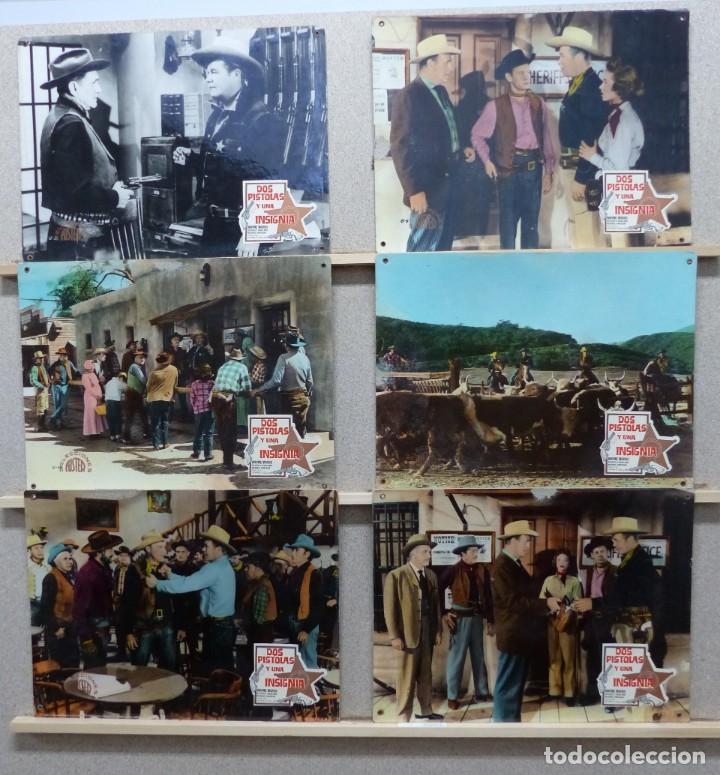DOS PISTOLAS Y UNA INSIGNIA - WAYNE MORRIS, BEVERLY GARLAND - SET 6 FOTOCROMOS DE CARTON (Cine - Fotos, Fotocromos y Postales de Películas)