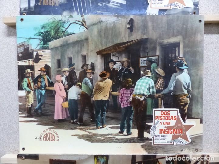 Cine: DOS PISTOLAS Y UNA INSIGNIA - WAYNE MORRIS, BEVERLY GARLAND - SET 6 FOTOCROMOS DE CARTON - Foto 5 - 184549462