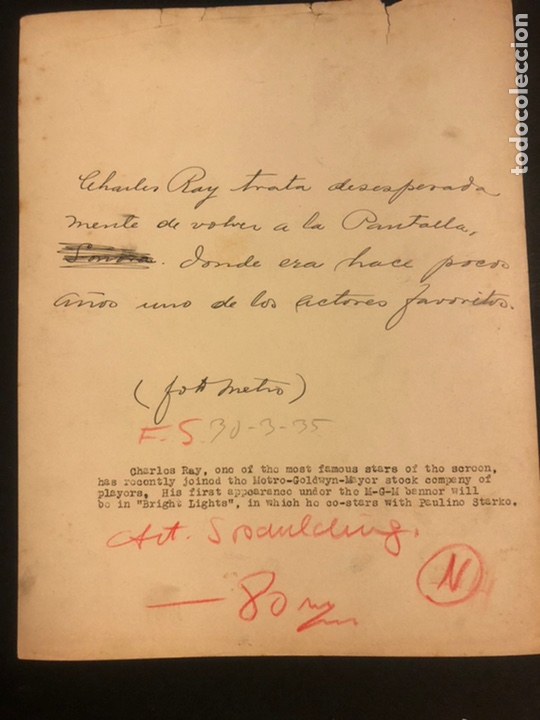 Cine: Foto original MGM de charles ray 25 x 20 cm - Foto 2 - 185709606