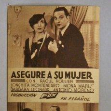 Cine: TARJETA DE CINE DE LA PELÍCULA ASEGURE A SU MUJER. Lote 194274257