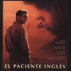 Cine: P-8608- EL PACIENTE INGLES (THE ENGLISH PATIENT) (FICHA PELICULA) RALPH FIENNES. Lote 194709326