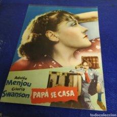 Cine: PAPA SE CASA FICHA TÉCNICA FILMOFONO EXCTE.ESTADO.ADOLFO MENJOU. Lote 195119382