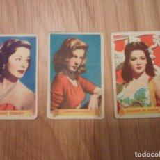 Cine: 3 CROMOS ACTRICES. GENE TIERNEY, LAUREN BACALL, YVONNE DE CARLO.. Lote 195128815