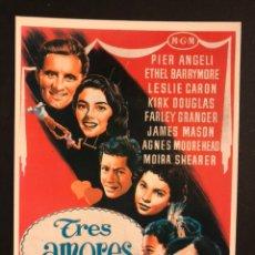 Cinema: TARJETA POSTAL DE TRES AMORES.PIER ANGELI LESLIE CARON Y KIRK DOUGLAS. Lote 196131490