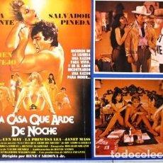 Cine: VINTAGE LOBBY CARD CE LA PELÍCULA LA CASA QUE ARDE DE NOCHE AÑOS 70S. Lote 205866718