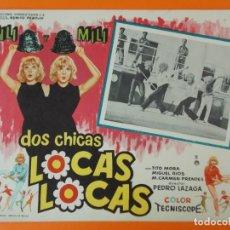 Cine: DOS CHICAS LOCAS, LOCAS - PILI Y MILI - AÑO 1964 - LOBBY CARD ... L1230. Lote 207074393