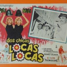 Cine: DOS CHICAS LOCAS, LOCAS - PILI Y MILI - AÑO 1964 - LOBBY CARD ... L1232. Lote 207074750