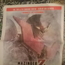 Cine: PUBLICIDAD DE MAZINGER INFINITY EN PRENSA - VER FOTOS. Lote 209300116