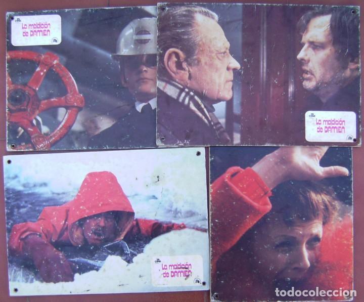 LOTE DE 4 FOTOCROMOS DE CARTON DURO DE LA MALDICION DE DAMIEN (Cine - Fotos, Fotocromos y Postales de Películas)