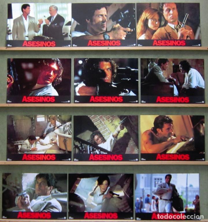 SCDO 131 ASESINOS SYLVESTER STALLONE ANTONIO BANDERAS SET COMPLETO 12 FOTOCROMOS ORIGINAL ESTRENO (Cine - Fotos, Fotocromos y Postales de Películas)