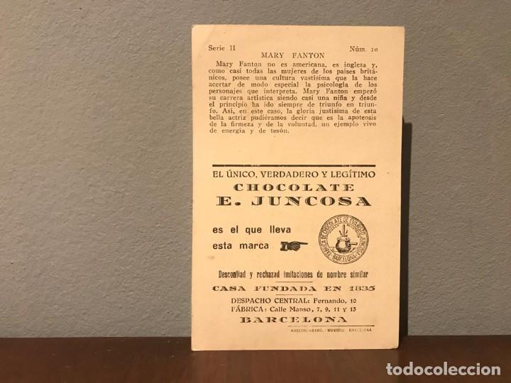 Cine: ACTRIZ MARY FANTON CROMO CHOCOLATE E.JUNCOSA SERIE H NUMERO 10 AÑOS 20 - Foto 2 - 213499360
