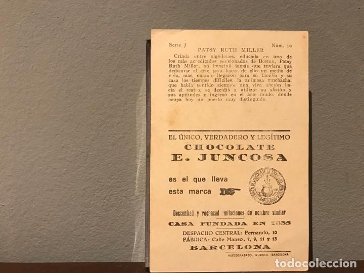 Cine: ACTRIZ PATSY RUTH MILLER CROMO CHOCOLATE E.JUNCOSA SERIE J NUMERO 10 AÑOS 20. - Foto 2 - 213988018