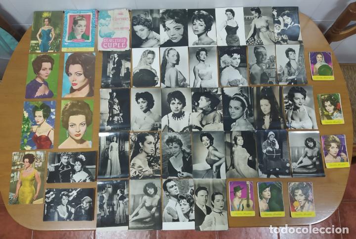 SARA MONTIEL. PRECIOSO LOTE DE 47 POSTALES, CALENDARIOS, ETC ANTIGUOS (AÑOS 60...) (Cine - Fotos y Postales de Actores y Actrices)