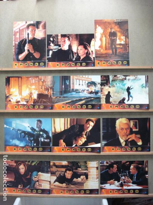 AAM70 ERASER ARNOLD SCHWARZENEGGER SET COMPLETO 12 FOTOCROMOS ORIGINAL ESTRENO (Cine - Fotos, Fotocromos y Postales de Películas)
