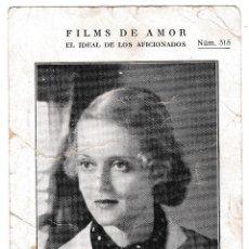 Cine: T - BETTE DAVIS - FILMS DE AMOR Nº 315 - DORSO HOJA PEDIDO EL GATO NEGRO - SHIRLEY TEMPLE. Lote 228697955