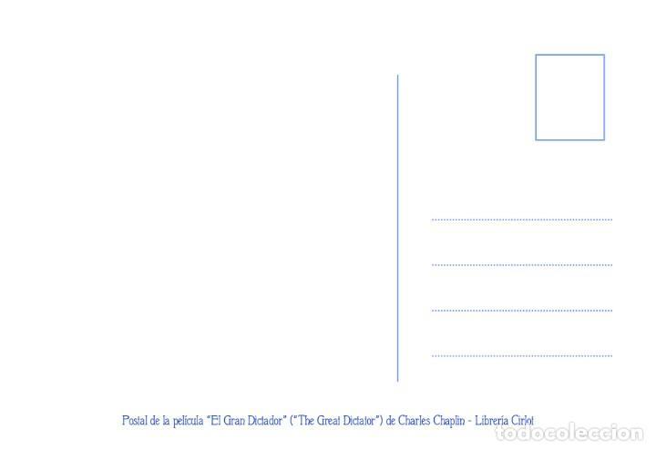 Cine: Postal de la película El Gran Dictador, de Charles Chaplin. Tema: Cine, Charlot, The Great Dictator. - Foto 2 - 262920870