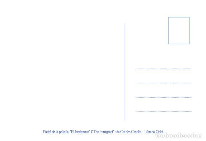 Cine: Postal de la película El Inmigrante, de Charles Chaplin. Tema: Cine, Charlot, The Immigrant. - Foto 2 - 263050430