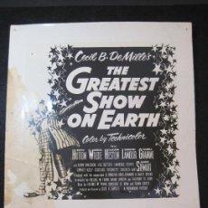Cine: CIRCO-THE GREATEST SHOW ON EARTH-CECIL B. DE MILLE'S-PROGRAMA FOTOGRAFIA-VER FOTOS-(V-22.805). Lote 269141328