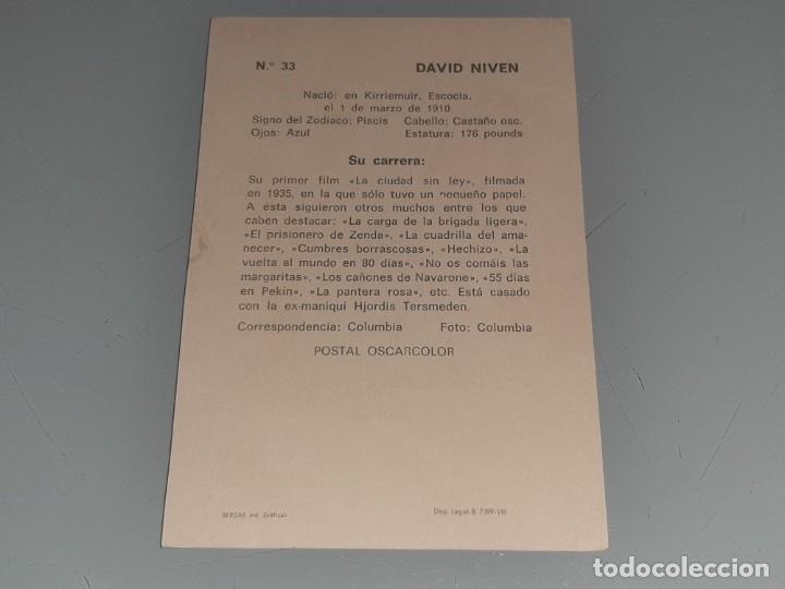 Cine: ANTIGUA POSTAL FICHA Nº 33 DEL ACTOR DAVID NIVEN POSTAL OSCARCOLOR BERGAS AÑOS 60 - Foto 5 - 277638328