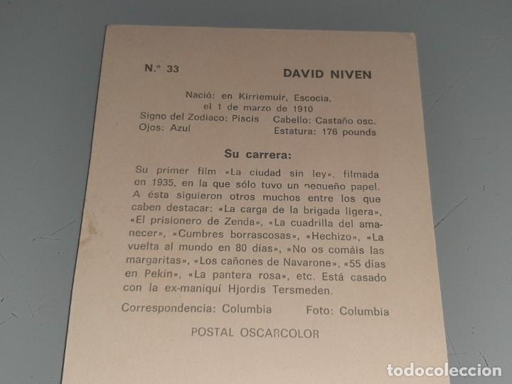Cine: ANTIGUA POSTAL FICHA Nº 33 DEL ACTOR DAVID NIVEN POSTAL OSCARCOLOR BERGAS AÑOS 60 - Foto 6 - 277638328