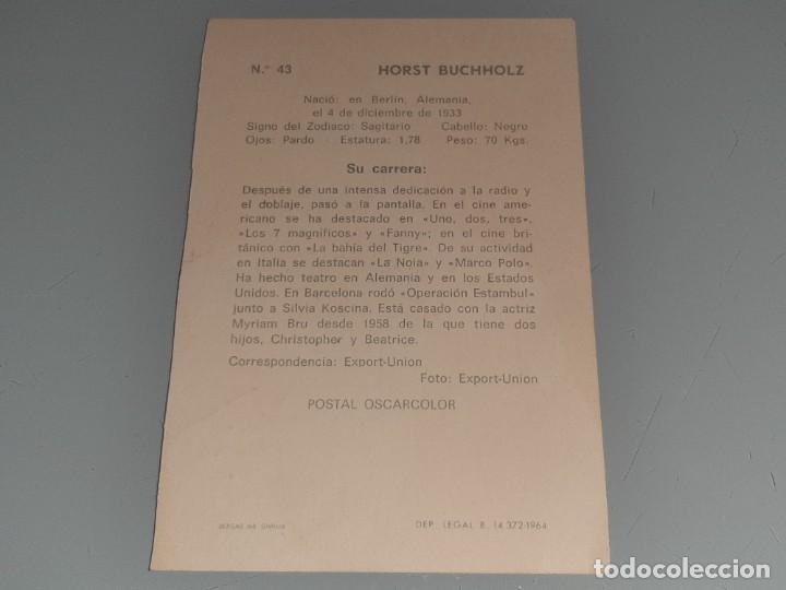 Cine: ANTIGUA POSTAL FICHA Nº 43 DEL ACTOR HORST BUCHHOLZ - POSTAL OSCARCOLOR BERGAS AÑOS 60 - Foto 5 - 277638943