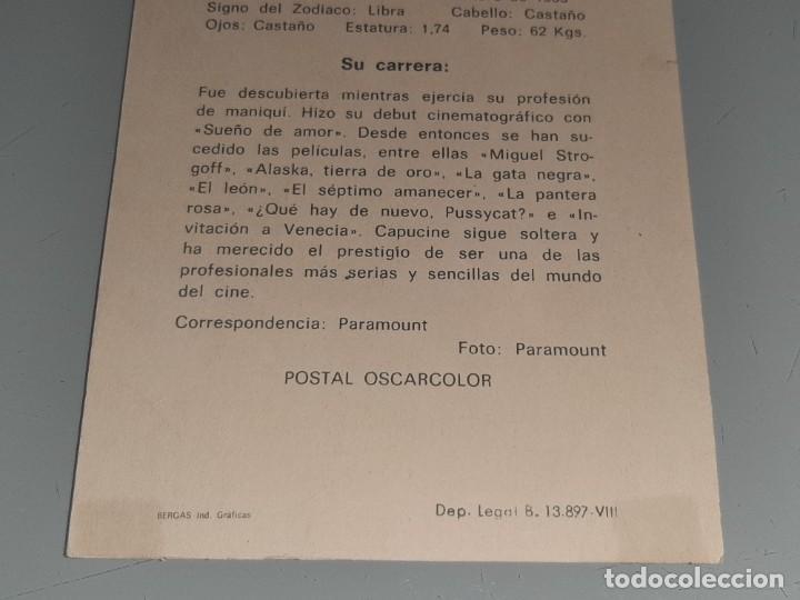 Cine: ANTIGUA POSTAL FICHA Nº 300 DE LA ACTRIZ CAPUCINE POSTAL OSCARCOLOR BERGAS AÑOS 60 - Foto 6 - 277640178