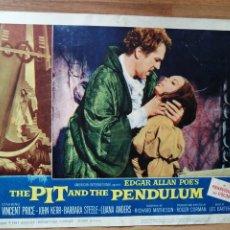 Cine: LOBBY CARD AMERICANO ORIGINAL THE PIT AND THE PENDULUM, EDGARD ALLAN POE'S, VICENTE PRICE, JOHN KERR. Lote 279411558