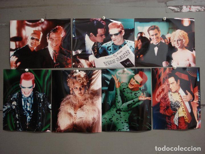 F31991 BATMAN FOREVER TOMMY LEE JONES JIM CARREY DREW BARRYMORE LOTE 7 FOTOS COLOR IMPORTACION (Cine - Fotos y Postales de Actores y Actrices)