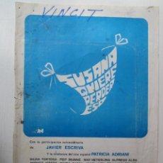 Cine: CARTEL GUIA DE CINE DE 20X30 SUSANA QUIERE PERDER ESOCON JAVIER ESCRIVA Y SILVIA TORTOSA. Lote 293933188