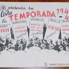 Cine: ANTIGUA 1ª LISTA DE LA TEMPORADA 1940 - 1941 DE HERCULES FILMS Y RAZA FILMS - CON PELICULAS VERDI -. Lote 25079375