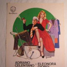 Cine: MANOS DE SEDA - ADRIANO CELENTANO ELEONORA GIORGI - GUIA PUBLICITARIA. Lote 4809372