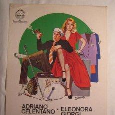 Cine: MANOS DE SEDA - ADRIANO CELENTANO ELEONORA GIORGI CASTELLANO Y PIPOLO IZARO FILMS GUIA PUBLICITARIA. Lote 4984286