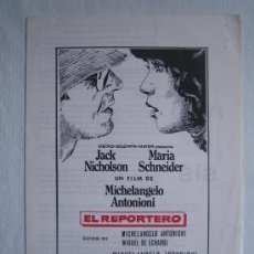 Cine: EL REPORTERO - JACK NICHOLSON - ANTONIONI - MAC. Lote 4991141