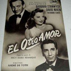 Cine: ANTIGUO CATALOGO DE LA PELICULA EL OTRO AMOR - CEPICSA - DIRECTOR ANDRE DE TOTH - CON BARBARA STANWY. Lote 14091896